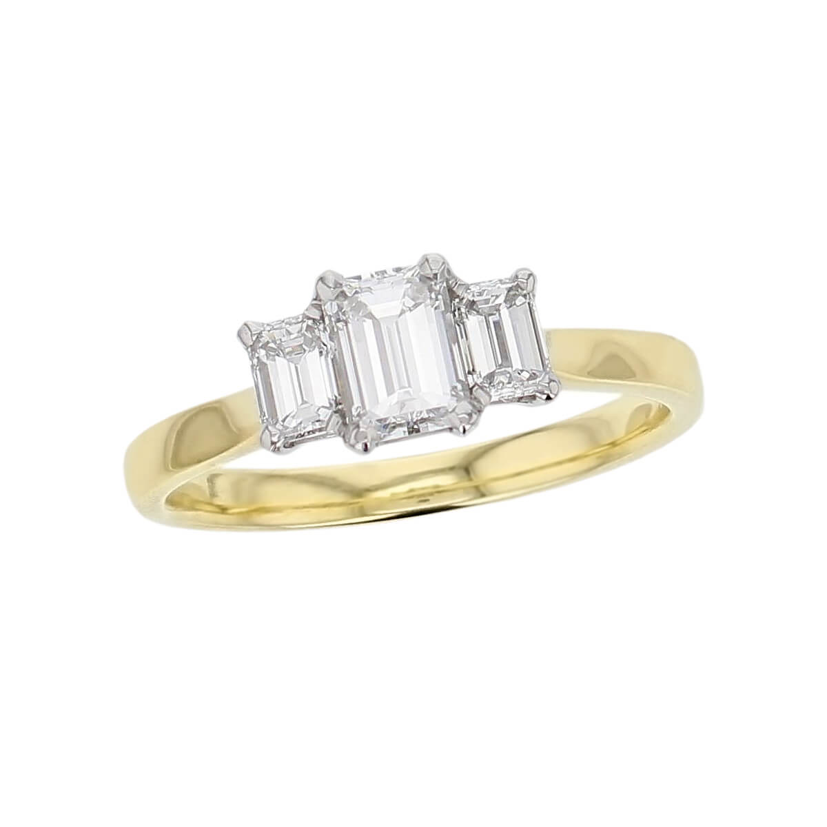 Octagon Diamond 18ct Yellow Gold Platinum Trilogy Ring 0 90ct Faller Derry Jewellers
